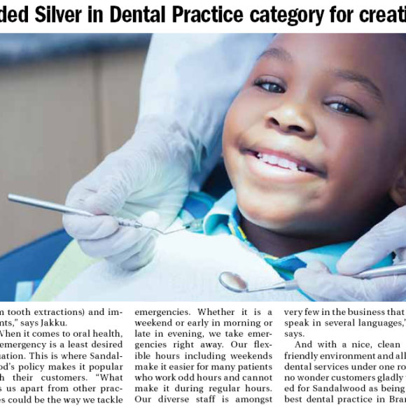 Sandalwood awarded Silver in Dental Practice category for creating winning smiles
